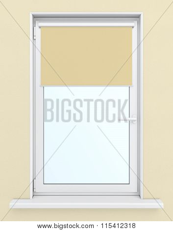 Plastic window with roller blind on a beige background. 3d rende