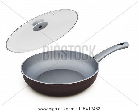 Ceramic frying pan with glass lid open