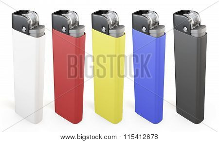 Set of colorful lighters isolated on white background. 3d render