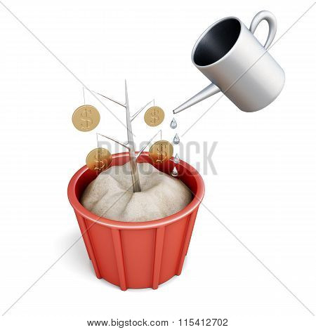 Conceptual money tree with watering. 3D image on white backgroun