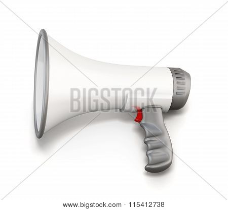 White manual loudspeaker isolated on a white background.