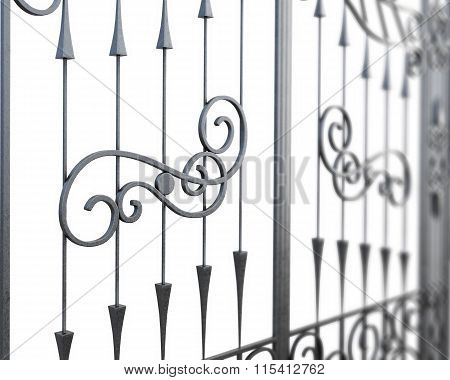 Fragment of wrought-iron lattice. 3d render image