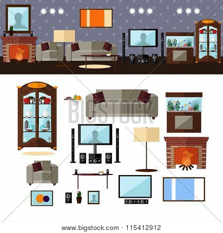 Living room interior with furniture. Vector illustration in flat style. Home related design elements