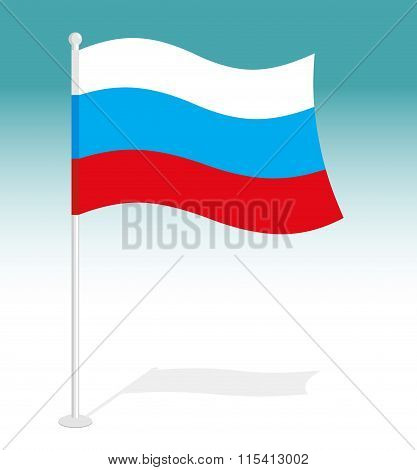 Flag Of Russia. Official National Character Of Russian Federation. Traditional Russian Growing Flag.
