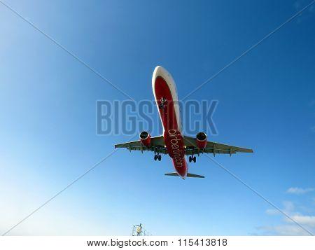 A Plane landing in Lanzarote