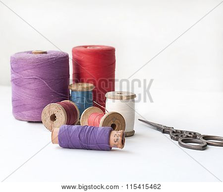 Spool of thread . Sew accessories.