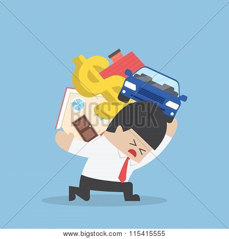 Businessman Carrying House Car And Dollar Sign