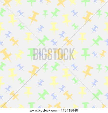 Seamless vector pattern light pastel colorful chaotic background with pins