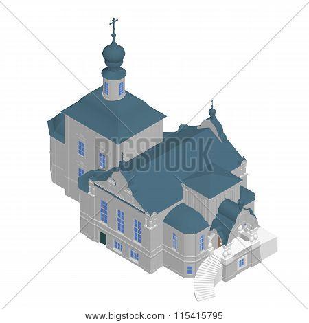 Church building Isometric 3D icon. Vector illustration eps 10.