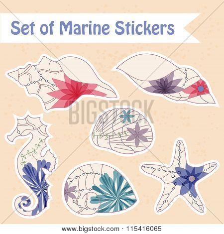 Set of vintage marine stickers