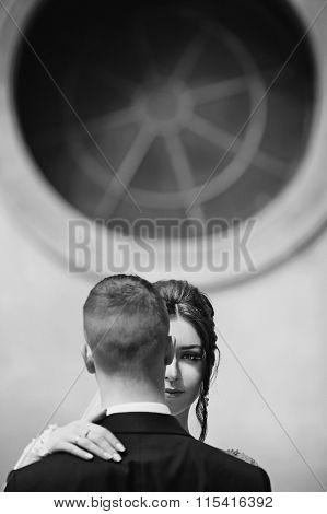 Sensual Beautiful, Brunette Bride Hugging Groom Face Closeup B&w, Window Background