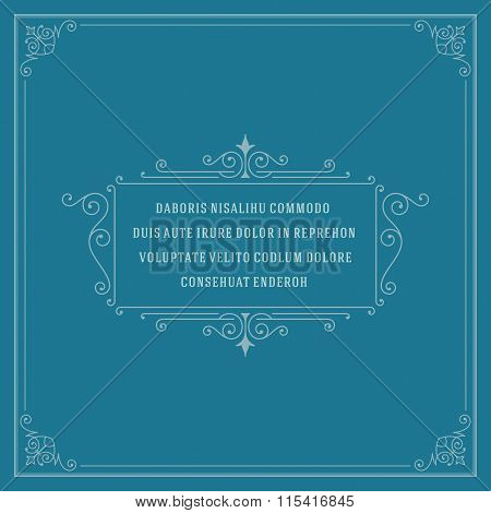 Vintage Ornament Quote Marks Box Frame Vector template design and place for text