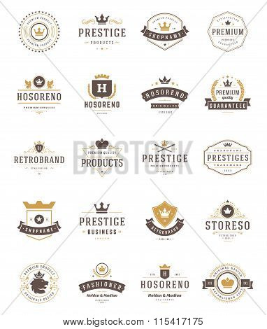 Vintage Crowns Logos Set. Vector design elements, Premium Quality Labels