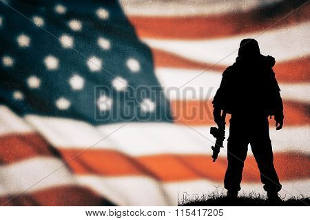 American soldier black silhouette
