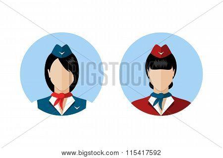 Set Of Stewardess Avatars