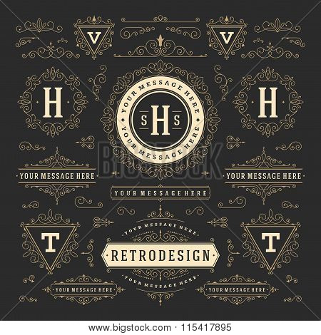 Vintage Vector Ornaments Decorations Design Elements. Flourishes calligraphic combinations Retro Log