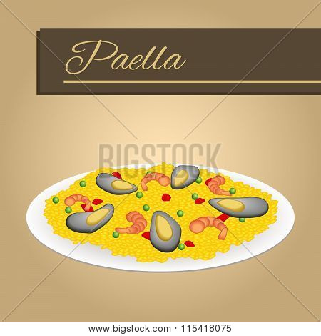 Abstract background food paella rice peas pepper shrimp mussel beige frame illustration vector