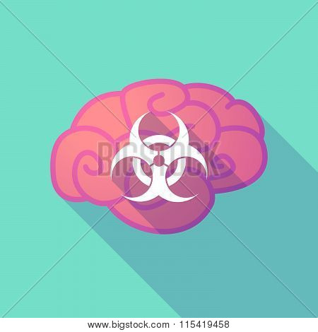 Long Shadow Brain With  A Biohazard Sign