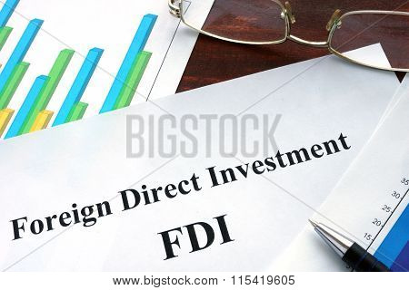 Foreign direct investment FDI form on a table.