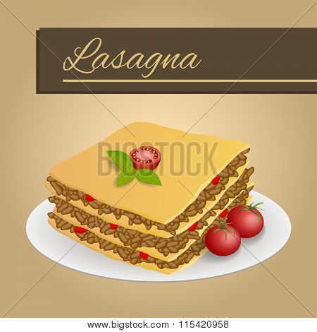 Abstract background lasagna food meat tomato red yellow beige frame illustration vector