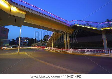 Urban Footbridge And Road Intersection Of Night Scene