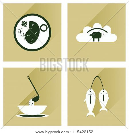 Modern flat icons vector collection with shadow Ukrainian cuisine