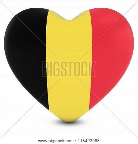 Love Belgium Concept Image - Heart Textured With Belgian Flag