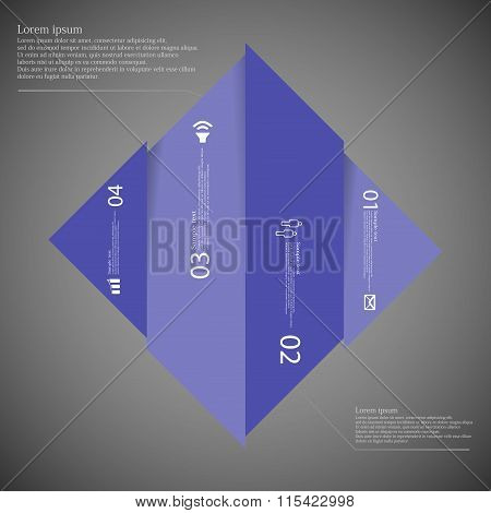 Infographic Template With Rhombus Shape Divided To Four Blue Parts