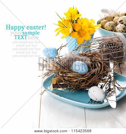 Table Decoration With Easter Eggs Nest On Plate, On White Wooden Background