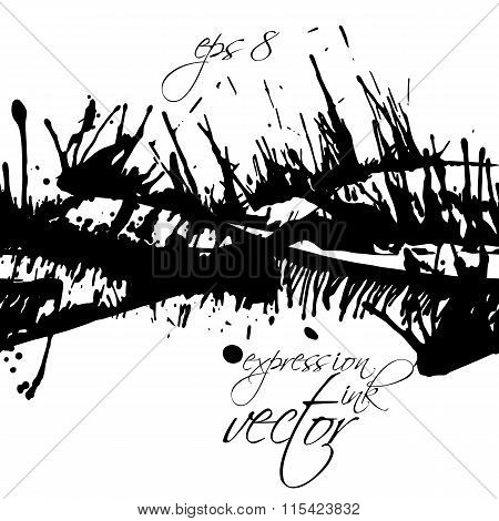 Black And White Vector Ink Splash Seamless Pattern, Monochrome Dirty Messy Graphic Art Backdrop