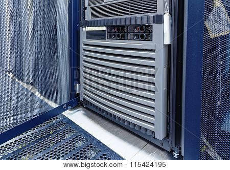 open door of mainframe data center closeup
