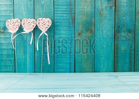 Pink Heart On Wooden Background. Holidays Background. Valentines Day Background. Love Concept. Happy