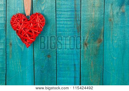 Red Heart On Wooden Background. Holidays Background. Valentines Day Background. Love Concept. Happy