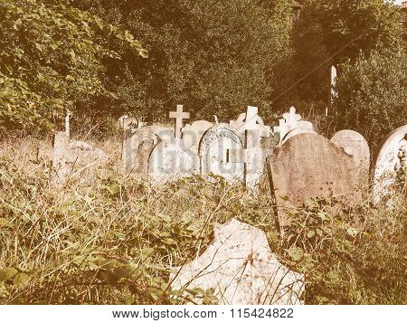 Tombs And Crosses At Goth Cemetery Vintage