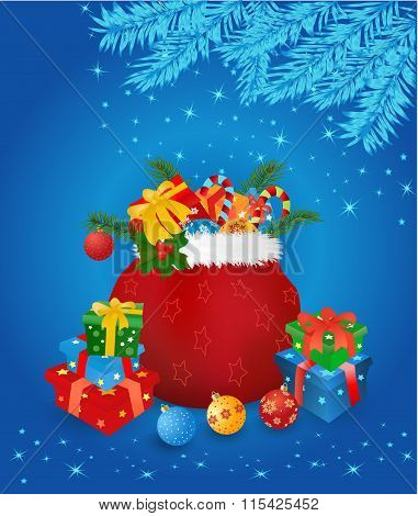 Christmas Sack With Gifts On Blue