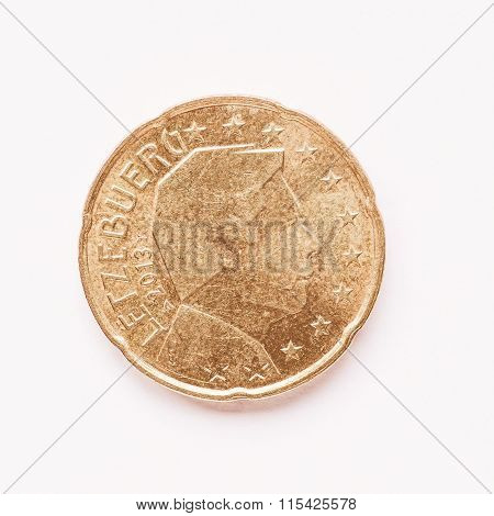 Luxembourg 20 Cent Coin Vintage