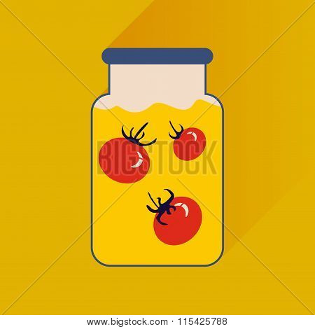 flat icon with long shadow canned tomatoes