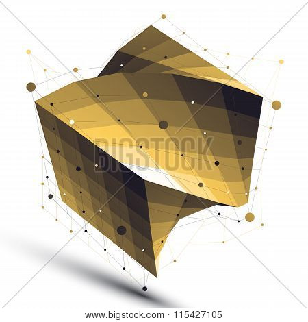 Gold Squared Twisted Abstract 3D Shape, Vector Digital Lattice Object.