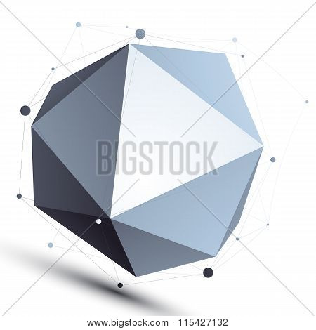 3D Mesh Spherical Stylish Abstract Object, Origami Facet Globe Isolated On White Background.