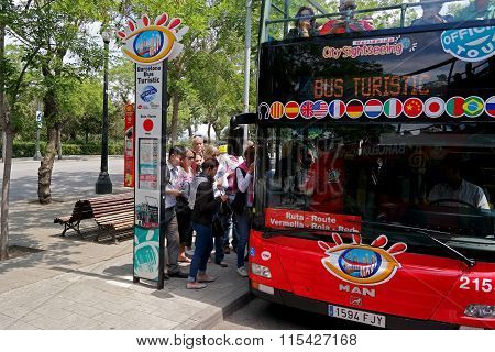 Barcelona, Spain - May 17, 2014: Landing On The City Tour Bus
