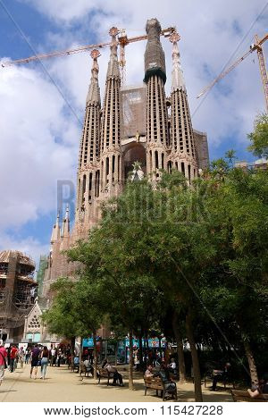 Barcelona, Spain - May 17, 2014: The Sagrada Familia, Antoni Gaudi's Unfinished Masterpiece.
