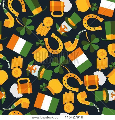 Dark Seamless Pattern Of Saint Patrick