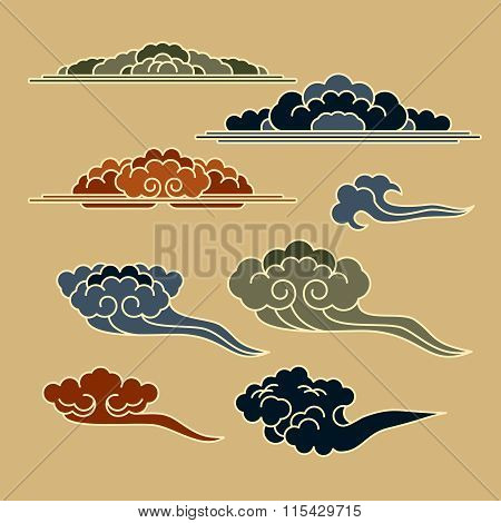 set with east templates of graphic clouds