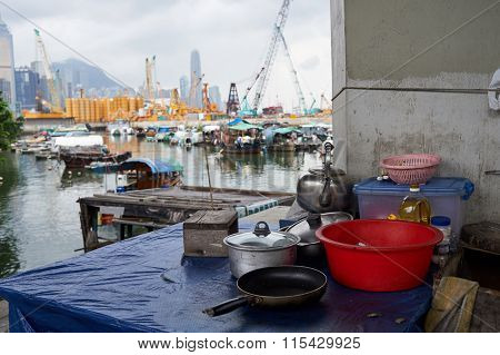HONG KONG - JUNE 01, 2015: tableware on the table in Hong Kong. Hong Kong, is an autonomous territory on the southern coast of China at the Pearl River Estuary and the South China Sea