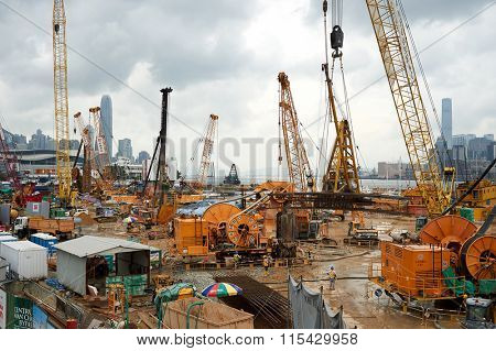 HONG KONG - JUNE 01, 2015: site area in Hong Kong. Hong Kong, is an autonomous territory on the southern coast of China at the Pearl River Estuary and the South China Sea