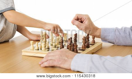 Playing Chess, Child And Senior Hands, Kid Boy Moving Pawn Piece, Chessboard