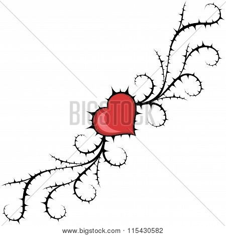 Abstract heart and bush. Floral vector element.