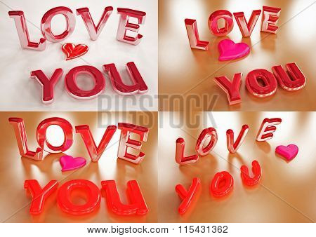 Inscription Of Love You Set Of Pictures