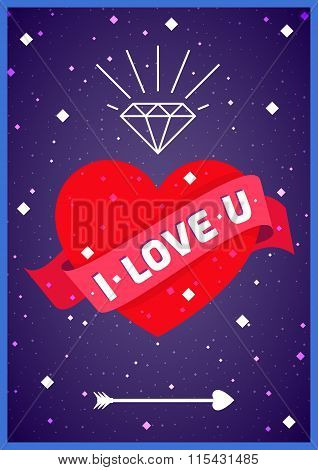 Love heart in space poster.