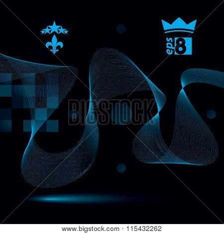 Sophisticated 3D Waved Decoration, Clear Eps 8 Vector Illustration, Dark Motif Background With Five